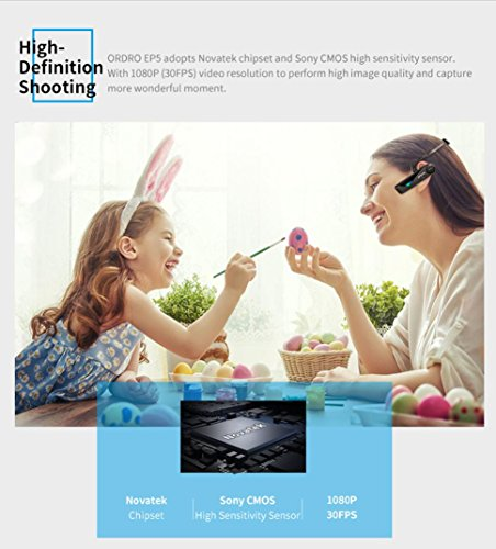 Full HD 1080P Video Camera,Wifi 90° Wide Angle Lens,Sonmer ORDRO EP5 Head Action Mini DV Camcorder by Sonmer (Image #5)