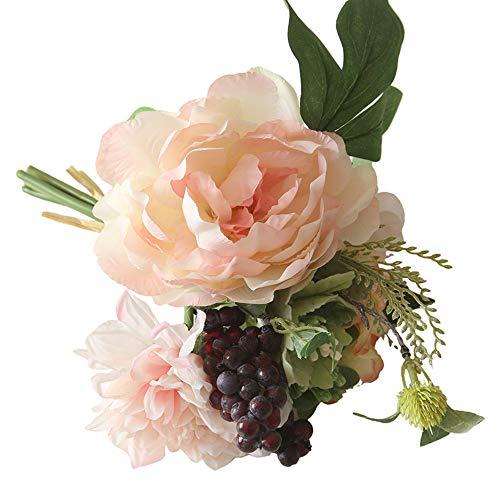 nikunLONG Flowers Peony Floral Wedding Bouquet 2 Pack Silk Flowers Bouquet Wedding Home Decoration Pink