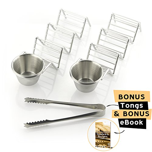 Deluxe Stainless Steel Taco Holder - Taco Stand - Taco Rack - Taco Serving Tray By mdaKitchen – With Sauce Dip Salsa Guacamole Cup & [BONUS Tongs & eBook] – Dishwasher Safe - Set of 2 by mdaKitchen