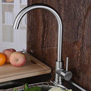 Wghz Contemporary Tall/­High Arc Rotatable with Ceramic Valve Single Handle One Hole forStainless Steel, Kitchen Faucet