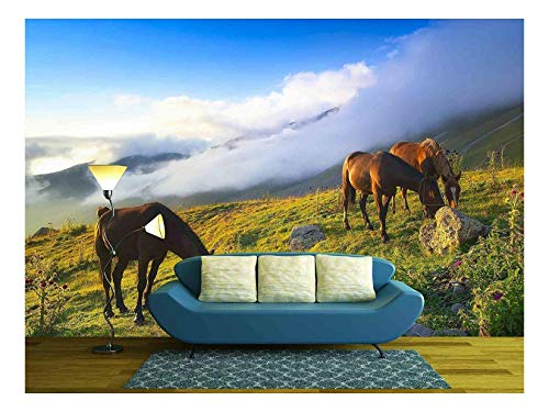 wall26 - Horses in Mountain Valley - Canvas Art Wall Mural Decor - 100