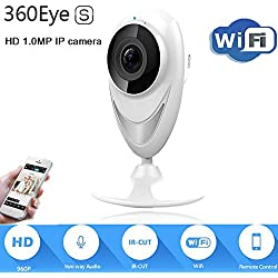 Baby Monitor Stand Panoramic IP Video Camera 180 with P2P Day and Night Vision 2 Way Audio, Support IOS Android Devices,