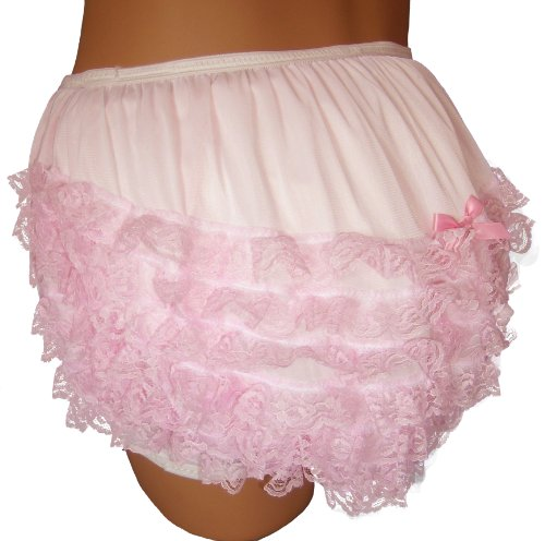 Small Plastic Pastel - Baby Pants Pastel Pink Frilly Rhumba Adult Pullon Plastic Pants - Small