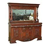 c1900 Large Antique Walnut Mirrorback Buffet Sideboard Server