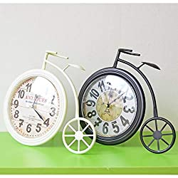 BeesClover Creative Industry Style Bicycle Model Desk Clocks Wrought Iron do Old Wall Clock Home Decoration White One Size