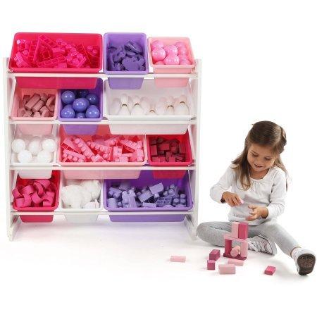 Sturdy Heavy-Duty Kids Great Toy Storage Alternative Organizer with 12 Plastic Bins in Pink/Purple