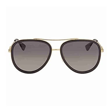 6c98a8a7a37 Image Unavailable. Gucci GG 0062S 011 Black Gold Metal Aviator Sunglasses  Grey Gradient Polarized Lens