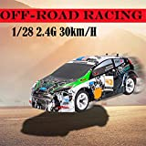 Hot High Speed RC Off-Road Car 1 28 2.4G 30 km h 4 WD Independent Suspension Off-Road Rally Car Alloy Chassis Remote Control Vehicle - for Adults and Children (A)