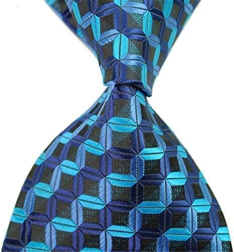 Allbebe Tartan Tie In Blue&Black Check Business Men's Silk Ties Stereo Neckties