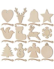 SAVITA 120pcs Unfinished Wood Slices, 12 Styles Christmas Wooden Ornaments Natural Wood Blanks with Ropes for Christmas Tree Decorations Holiday DIY Crafts