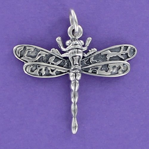 Pendant Jewelry Making Dragonfly Charm Sterling Silver for Bracelet or Necklace Moth Large Wings Bug