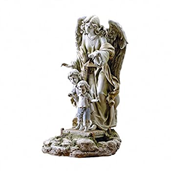 Josephs Studio Guardian Angel with Children Solar Garden Statue, 20.5-Inch, Made of Resin Stone