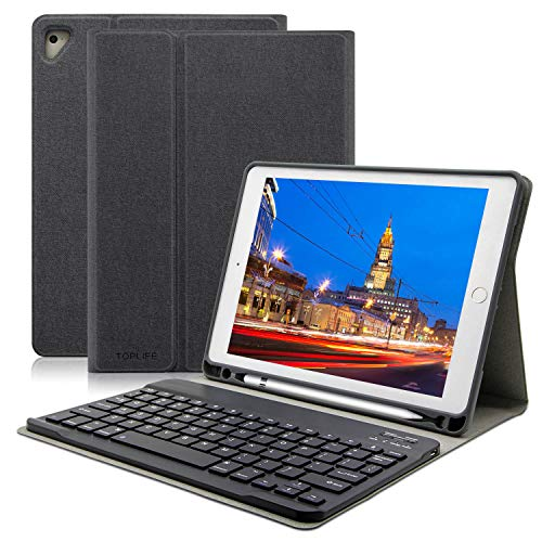 Pencil Keyboard (9.7 iPad Keyboard Case with Pencil Holder, Ultra-Thin Slim Shell Protective Cover, Wireless Bluetooth Keyboard for Apple iPad Pro 2017/2018 (Black))