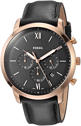 Fossil Men's Neutra Chrono Stainless Steel Quartz Watch with Leather Calfskin Strap, Black, 20 (Model: FS5381