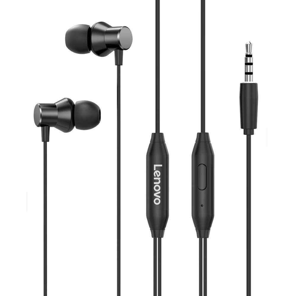 Lenovo HF130 Wired in Ear Earphone with Deep Base,10mm Dynamic Drivers,3.5mm Headphone with Mic Volume Control - (Black)
