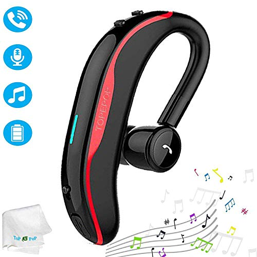 Bluetooth Earpiece Wireless Headset Handsfree Call Earpiece Noise Cancellation Earbud Long Talk Time Earphone Compatible with Smart Cell Phones Car Driver Trucker Business Office Men Women (Red)