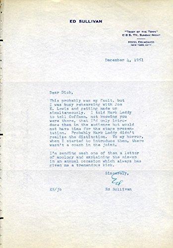 ED SULLIVAN Hand Signed Typed Letter - UACC RD#289