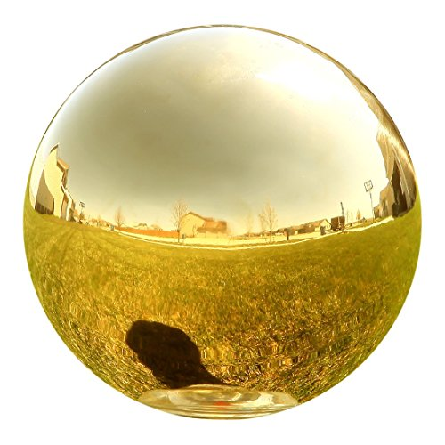 Lily's Home Stainless Steel Gazing Mirror Ball, The Ultimate, Colorful Addition to Any Garden, Gold (10 Inches Dia.)