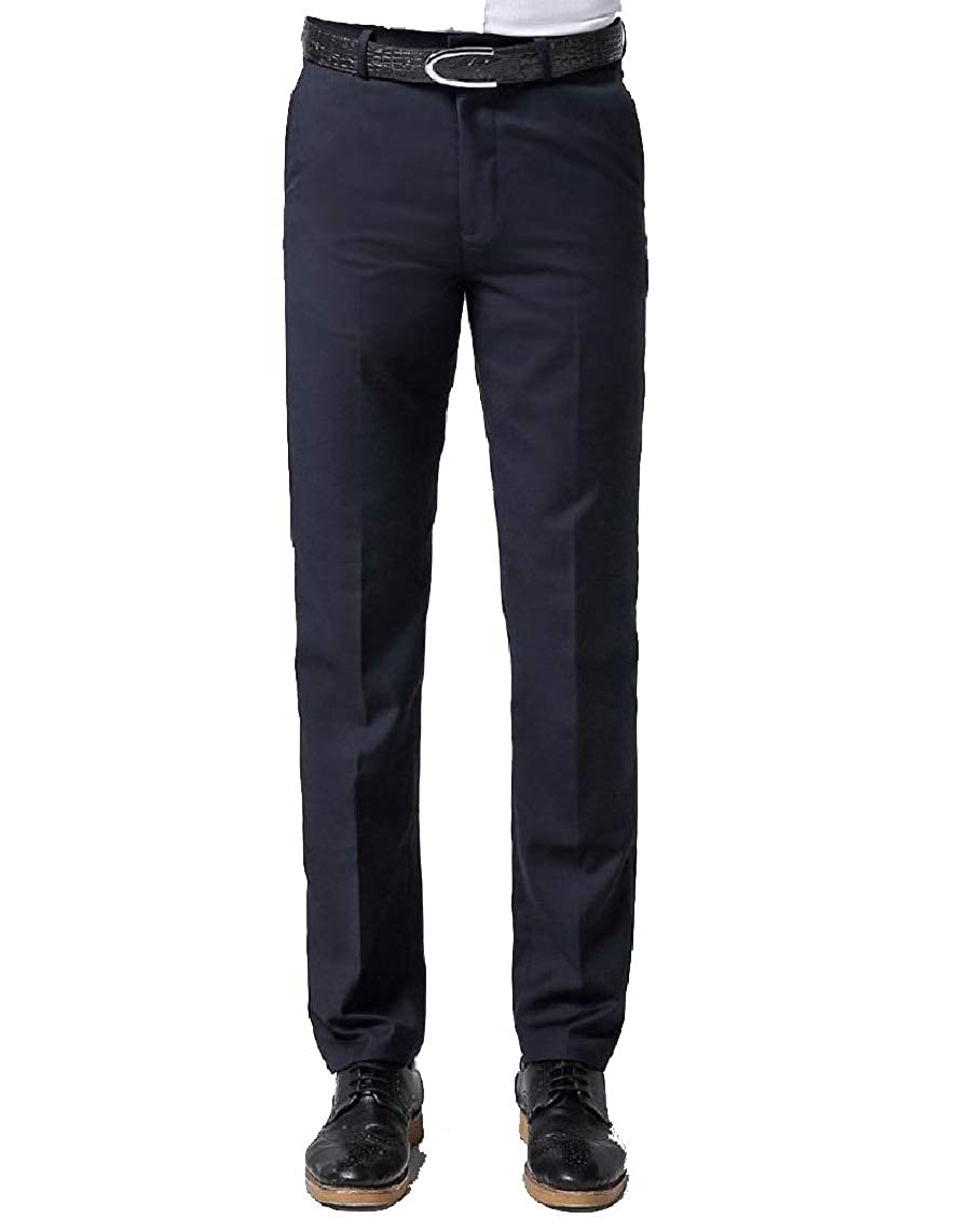 KaWaYi Mens Straight Fit Pure Color Formal Stylish Fitted Pants