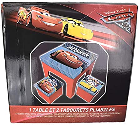 Disney- Cars Mesa 50x50 cm +2 taburetes 25x25 cm Plegable s ...