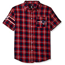 NEW ENGLAND PATRIOTS WORDMARK BASIC FLANNEL SHIRT - SHORT SLEEVE