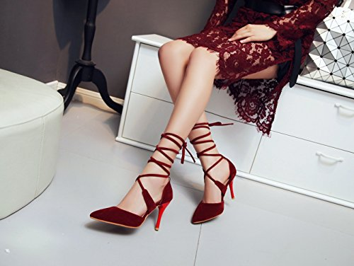 Lace Tie High Pump Sandals Heel Ankle Womens Point Red up Toe Strappy Lucksender RxgawIqg