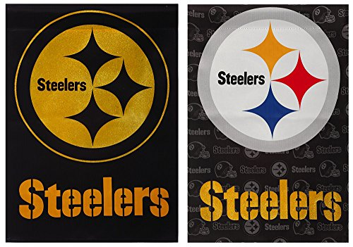 (Team Sports America NFL Pittsburgh Steelers Suede Glitter Embellished Logo 2 Sided House Flag, Medium, Multicolored)