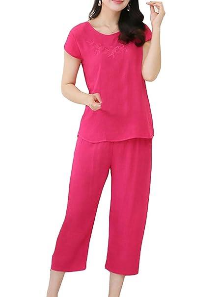 Pijamas Mujer Set Ropa De Dormir Pijama Conjunto Con 2 Piezas Pantalón Corto Y Camisetas XL