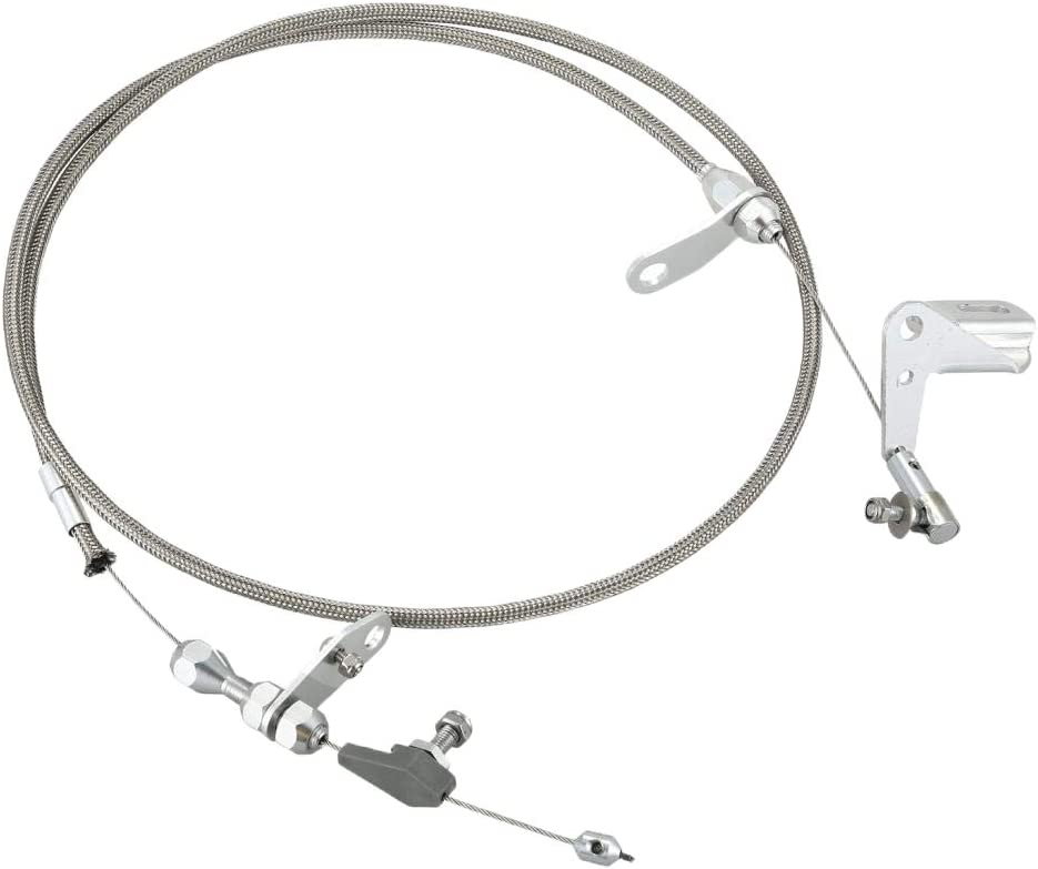 Stainless Braided Transmission Kick Down Cable Detent for Mopar 727 Trans