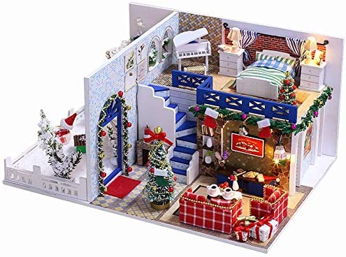 Flever Dollhouse Miniature DIY House Kit Creative Room with Furniture for Romantic Valentine's Gift(Blue Christmas)