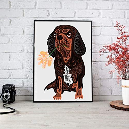 - MalertaART Printable King Charles Spaniel with Flower King Charles Spaniel Dog Art Spaniel Dog Print Cavalier King Charles Spaniel Framed Wall Art