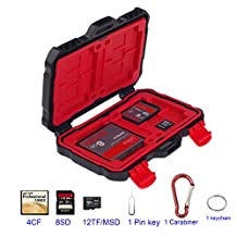 LXH / LYNCA Memory Card Case Holder SD SDHC SDXC/ CF/ MSD/ XQD/ TF Micro SD Card Storage Box Camera Cartridge Waterproof and Anti-dust Box With Carabiner For 8SD+4CF+12MSD (For 24 Slots)