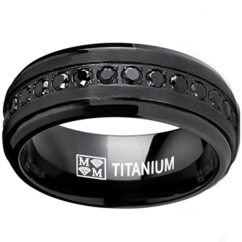 Men's Stealth Black Titanium Wedding Band Ring with Black Cubic Zirconia CZ, Size 9.5 ()