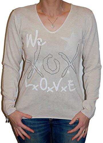 XOX by Aviva, mujer primavera Sudadera, en 2colores Sand-Melange/Offwhite