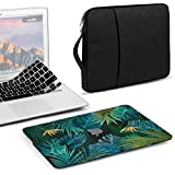 GMYLE 3 in 1 Bundle Tropical Summer Palm Leaf in Deep Dark Crystal Glossy Black Plastic Hard Case for MacBook Air 13 inch (A1369/A1466), Black Water Repellent Laptop Sleeve with Handle & Keyboard Skin
