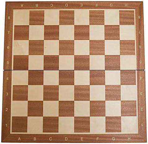 ROMBOL Schachbrett 'Brüssel' (FG 58), Intarsienarbeit, Turniergröße, mit Randbeschriftung, klappbar, Holz