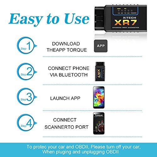 PUMPKIN OBD2 Bluetooth Adapter Diagnoseger/ät OBDII Diagnose Scanner ELM327 Interface Universal Auto-Scanner Code Leser Motorkontrollleuchte Diagnoseger/ät f/ür Android Windows Smartphone