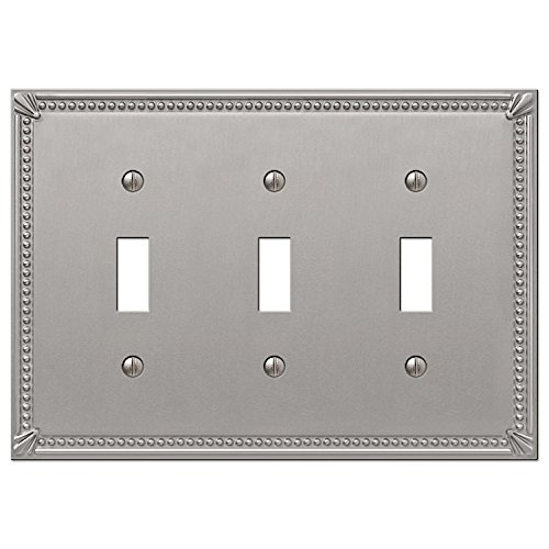 Imperial Bead Triple Toggle Switch Plate in Brushed Nickel