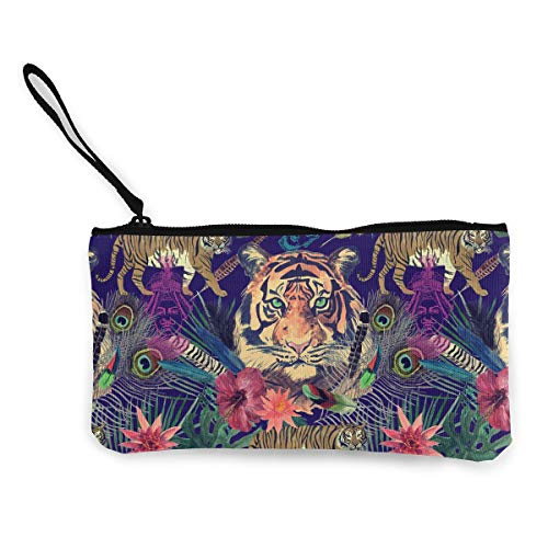(Coin Purse Wallet for Women,Indian Elephant Tigers Pattern Pen Holder Stationery Organizer Change Purse Coin Pouch Mini Clutch Bag for Home and Office)