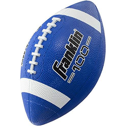 : Franklin Sports Junior Football - Grip-Rite 100 - Kids Junior Size Rubber Football - Youth Football - Durable Outdoor Rubber Football - Blue/White