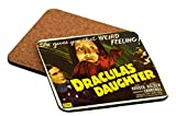 Rikki Knight Vintage Movie Posters Art Dracula'S Daughter Design Square Beer Coasters