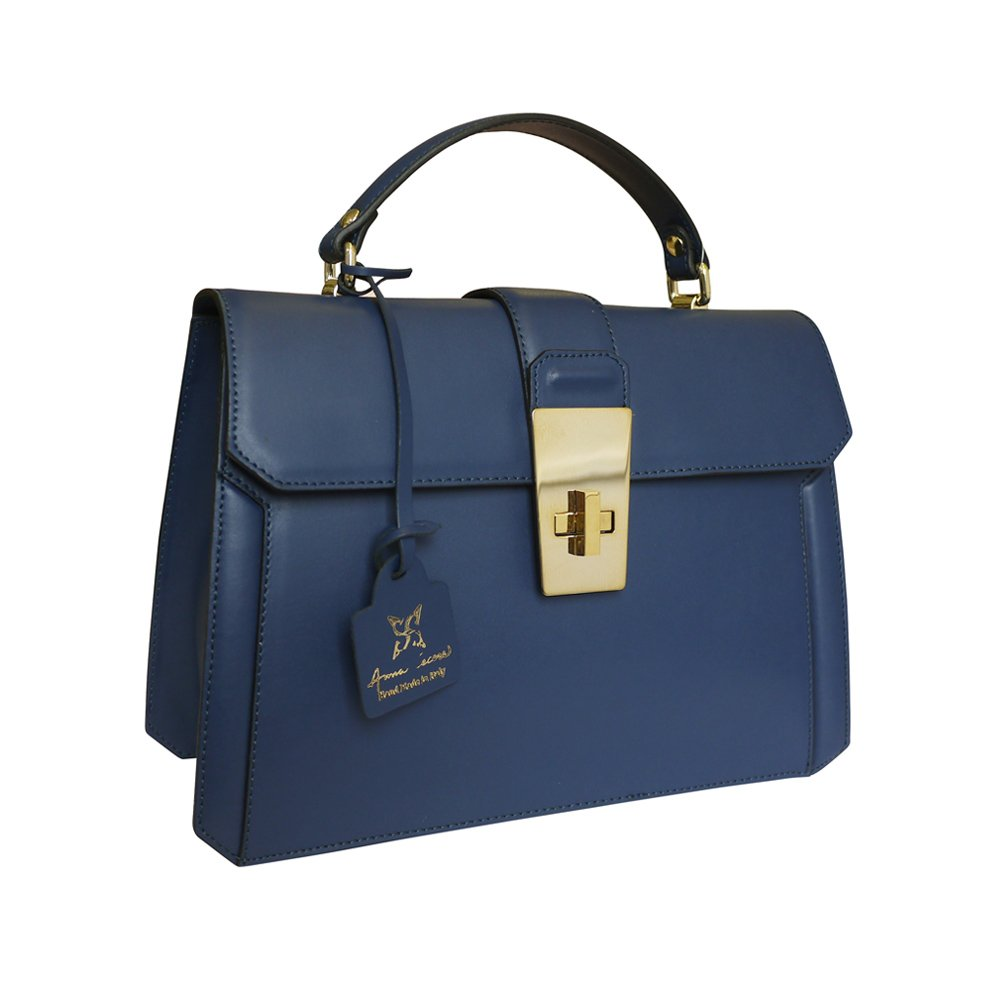 Anna Cecere Italian Leather Carina Grab Handbag Wedding Evening Bag - Blue