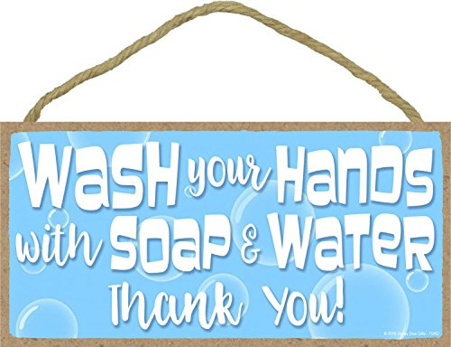 - Blue Wash You Hands With Soap And Water Thank You - 5 x 10 inch Hanging, Wall Art, Decorative Wood Sign Home Decor