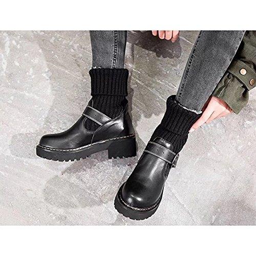 per Western HSXZ Stivali Comfort Stivali Scarpe pu donna Nero Cowboy piatto Black inverno tacco tonda Casual punta WO080qr