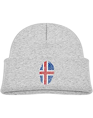 Warm Iceland Flag Fingerprint Printed Toddlers Baby Winter Hat Beanie