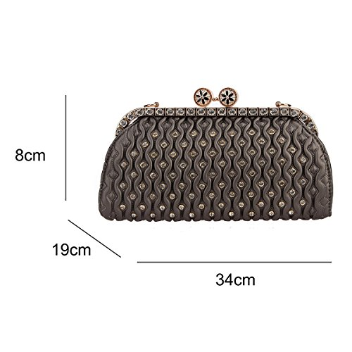 Crystal Lock Bonjanvye gray Handbags Clutch Pu Women's Purses Kiss Leather and Bag for w4xpHqxE