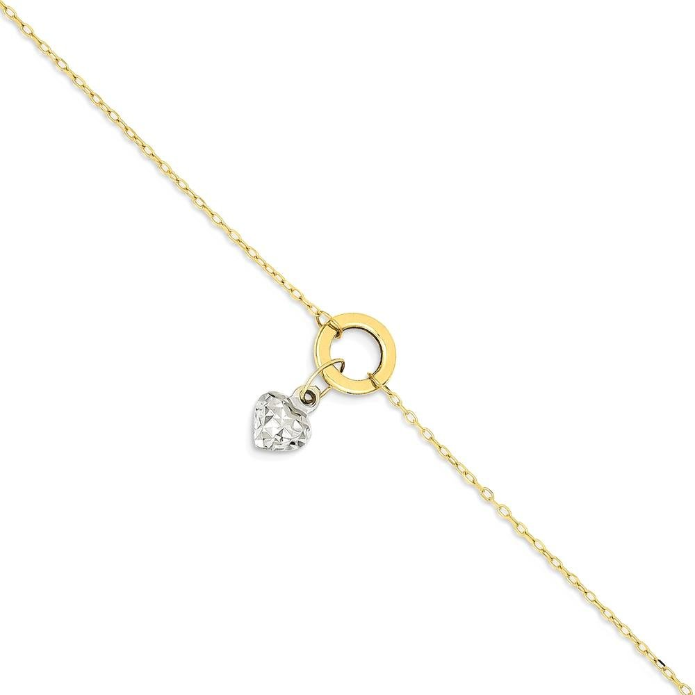 IceCarats 14k Gold Two Tone Circle/ Puff Heart 1 Inch Adjustable Chain Plus Size Extender Anklet For Women Ankle Beach Bracelet