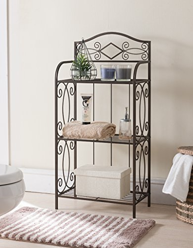 Kings Brand Pewter Metal 3 Tier Shelf Free Standing Towel Rack Stand Organizer by Kings Brand Furniture