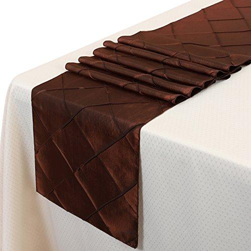 Remedios 12x108 Inch Pintuck Taffeta Table Runner Wedding Decoration Chocolate
