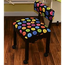 Arrow Sewing Chair in Black with Button Fabric